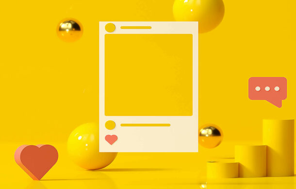 yellow illustrated color block of an social post