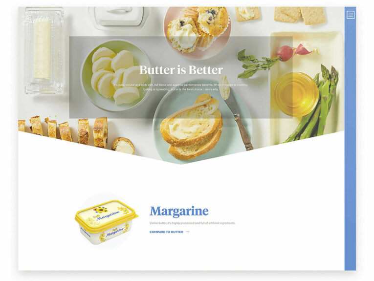 Go Bold With Butter Butter Is Better website page comparing butter to non-dairy alternatives